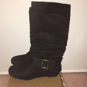 New Women's Black Soft Suede Feel Look Boots Sz 6
